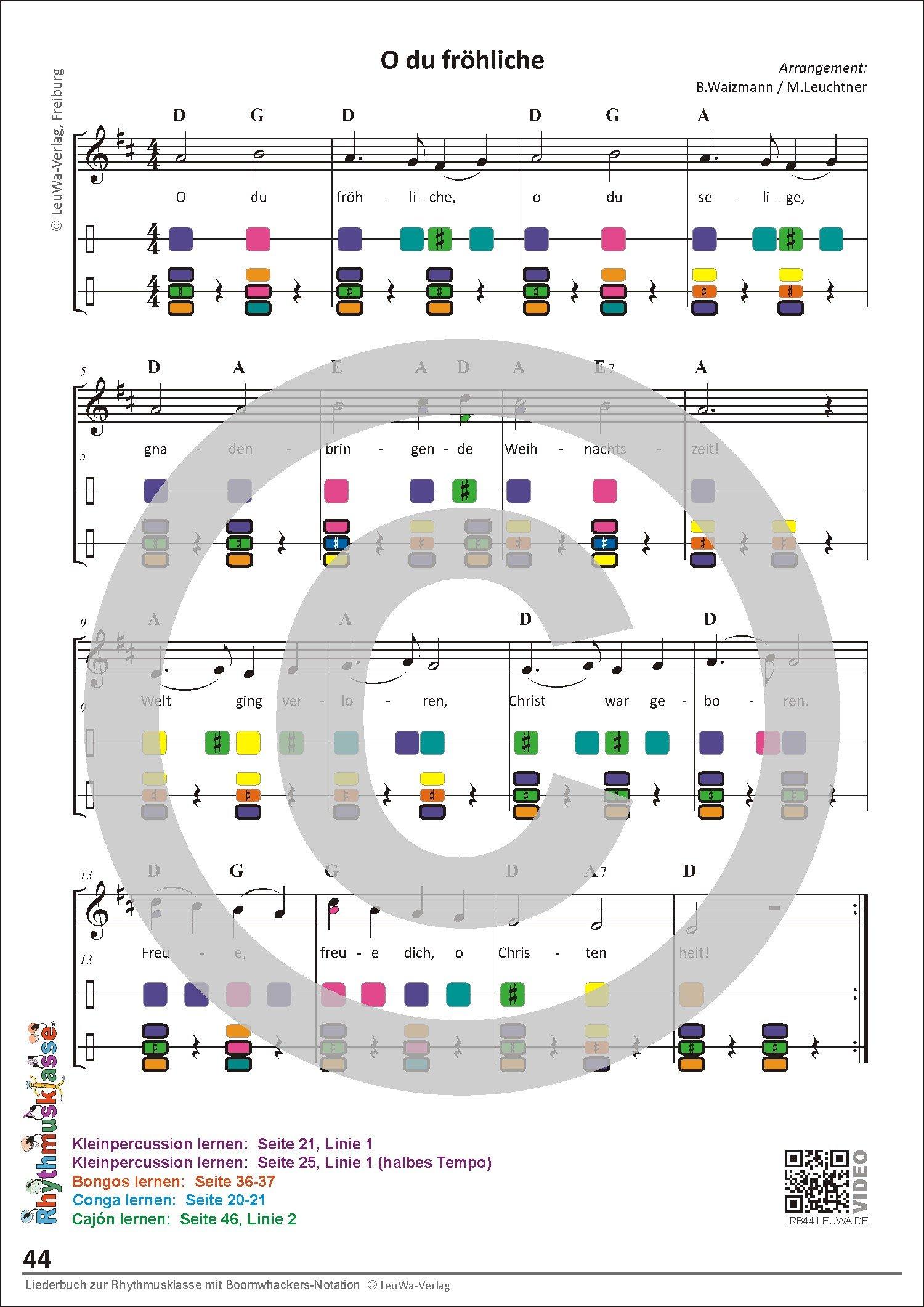 Liederbuch zur Rhythmusklasse - Beispielseite 44
