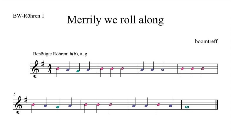 Merrily we roll along für Boomwhackers - Noten PDF 1