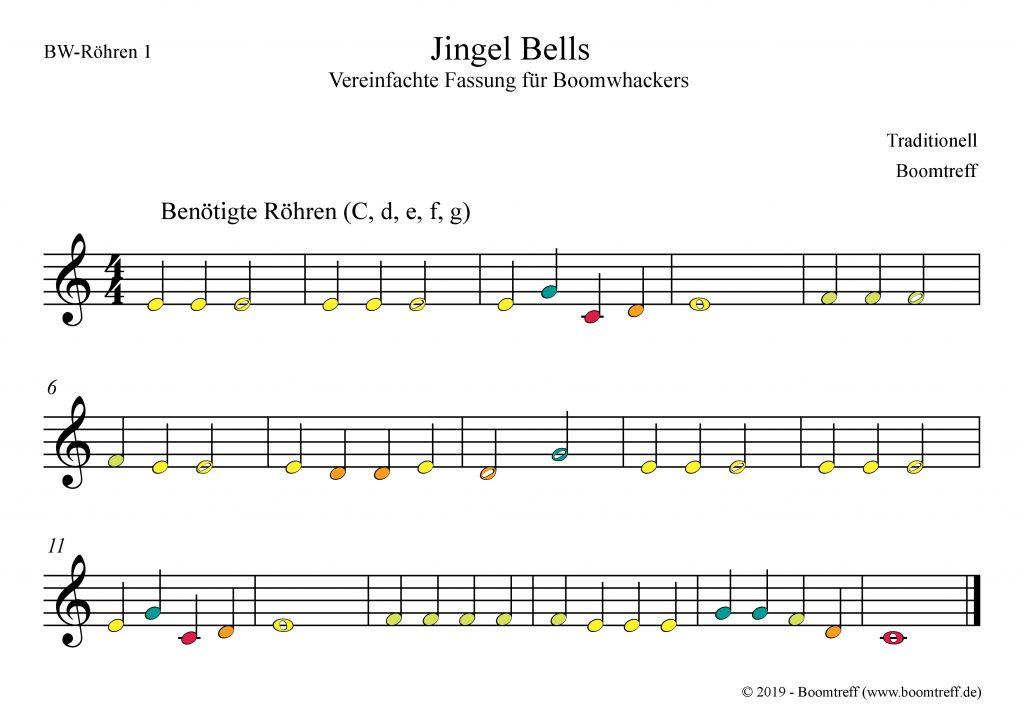 Melodie des Refrains von Jingle Bells mit farbigen Noten für Boomwhackers