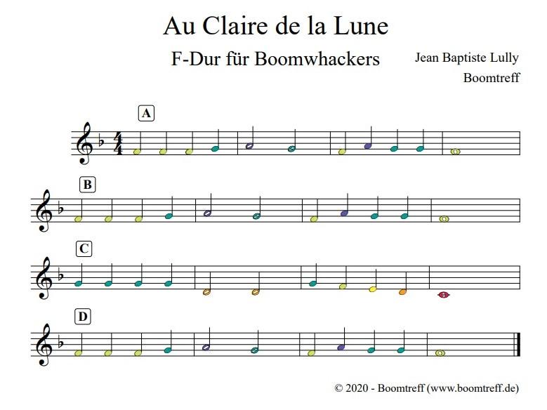Au Clair de la lune für Boomwhackers