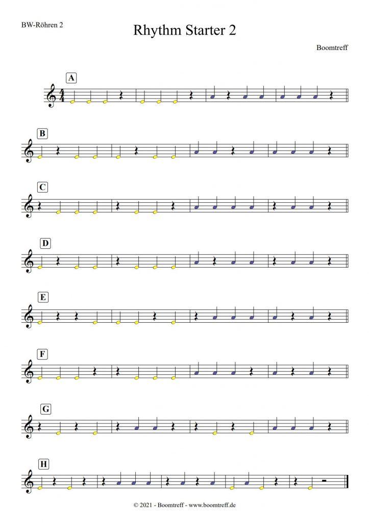 Rhythm Starter 2 - Rhythmus Übungen für Boomwhackers 2
