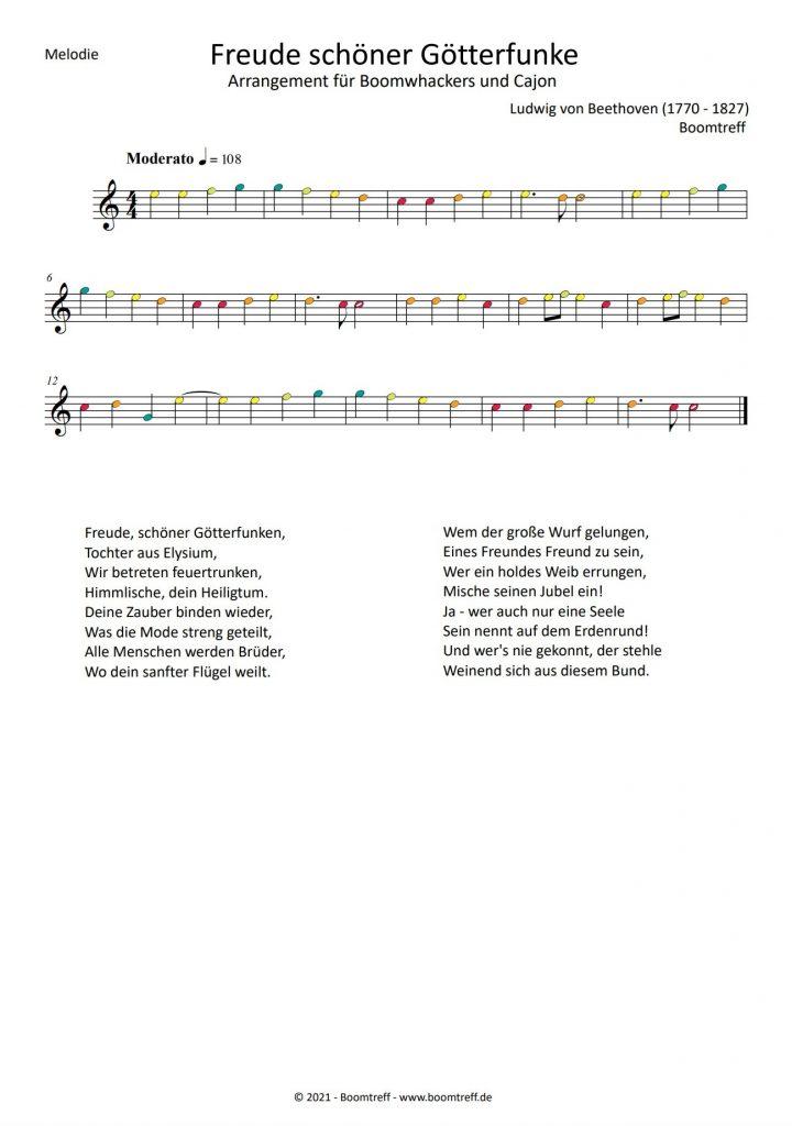 Freude schöner Götterfunke Noten Melodie